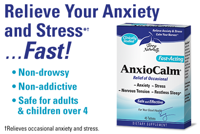 ANXIOCALM® — Relieve Your Anxiety and Stress*† …Fast!  Non-drowsy. Non-addictive. Safe for adults and children over 4.